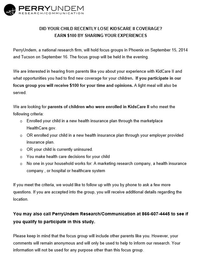kidscare study flyer