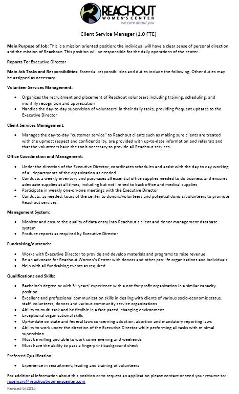 Client Service Manager june 2015