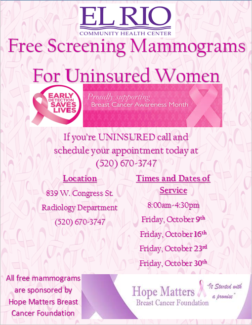 Free mammograms flyer