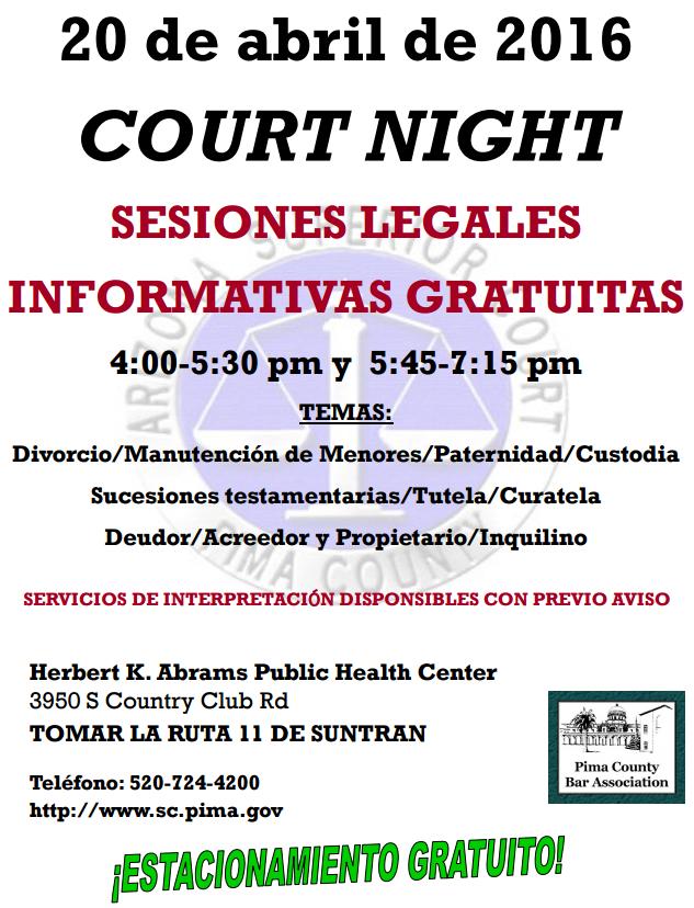 Court night flyer, Sp.